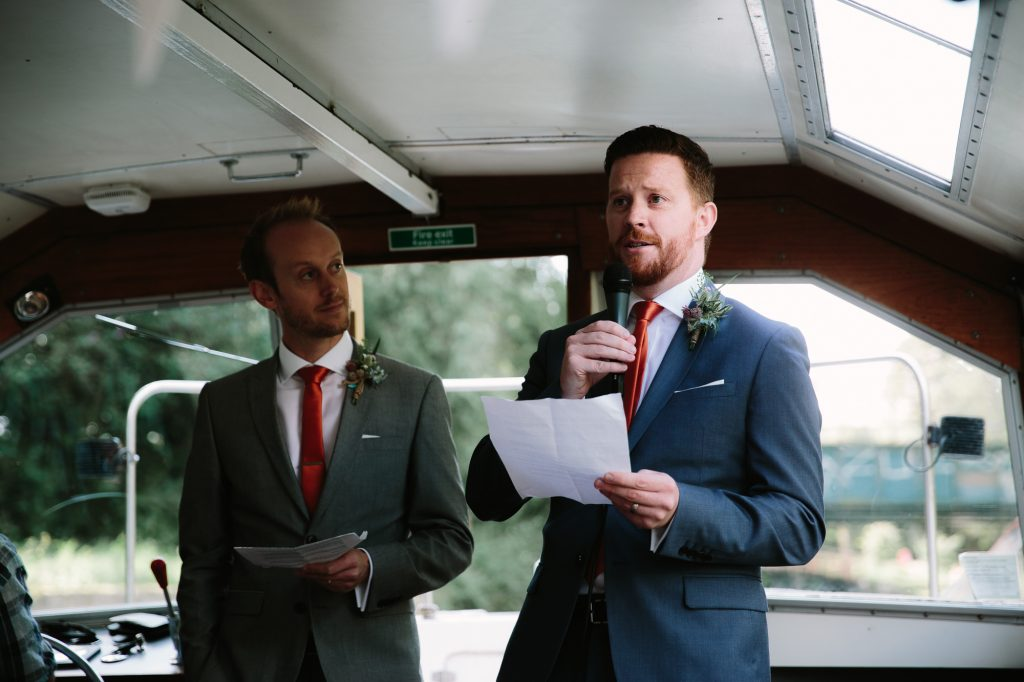 Best Man's Speech on a river boat in Oxford outside The Perch Pub in Binsey, Oxford.
