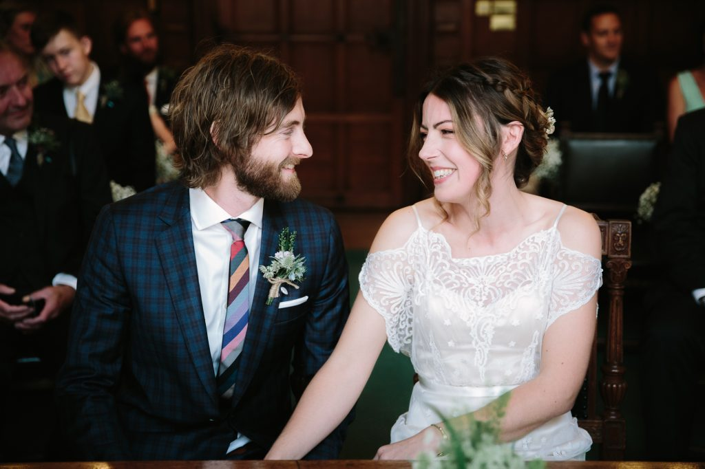 A cool couple who have just got married at Oxford Town Hall photographed by oxford wedding photographer Philippa James Photography