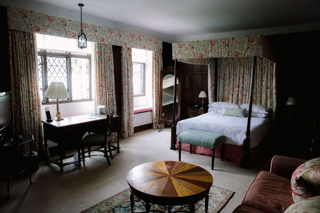 the bedroom at the manor country house hotel in Oxfordshire