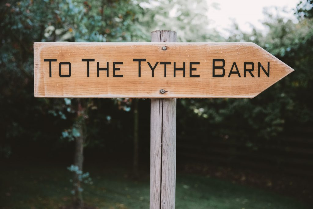 The Tythe Barn Oxford Wedding Venue Sign