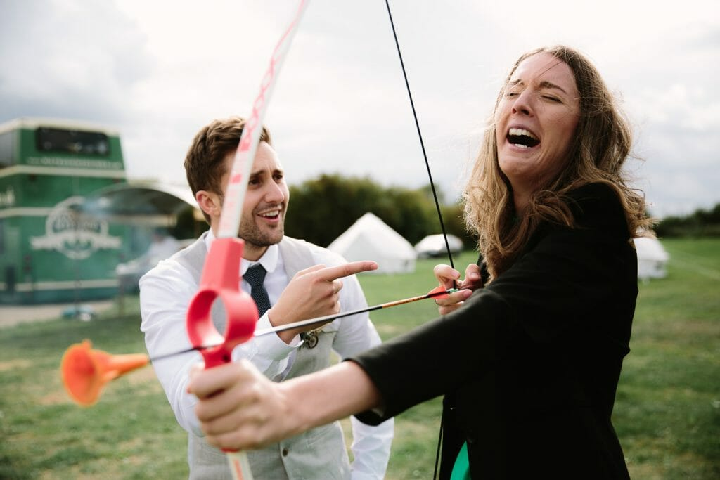 Garden games at The Maybush Tipi Wedding Venue