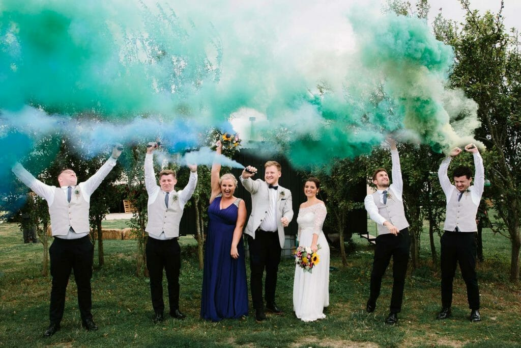 Bridal Party with Smoke Bombs at The Maybush pub