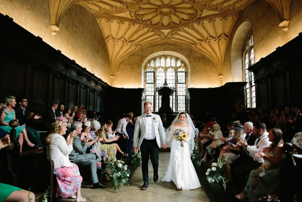 Bride and Groom leaving The Bodleian