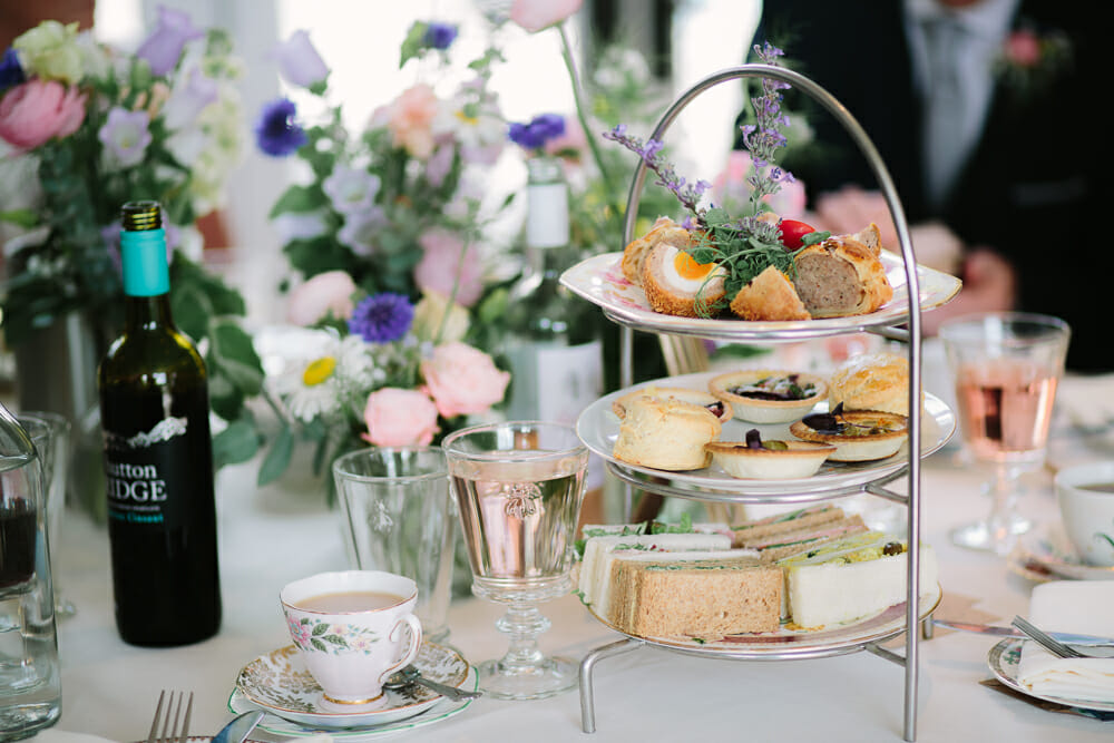 table setting - afternoon tea at a wedding