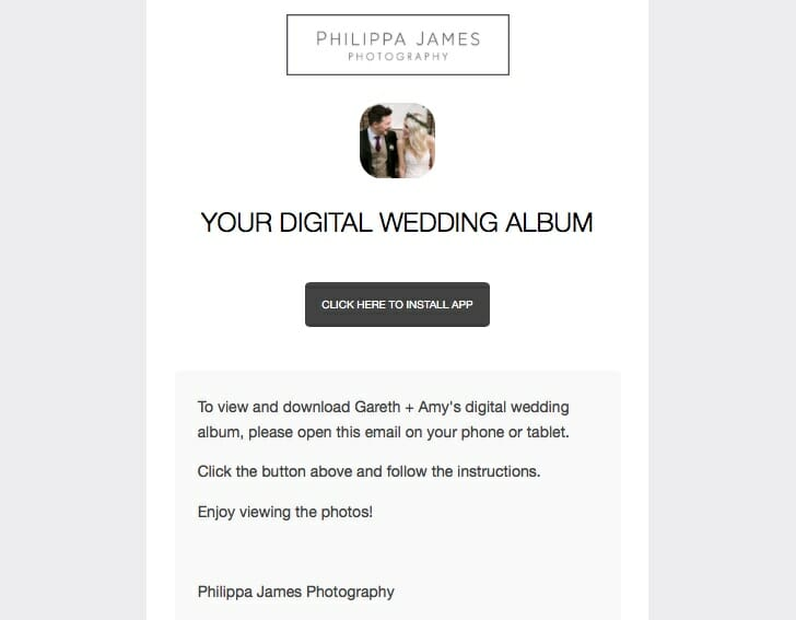 digital wedding album by Philippa James Photography