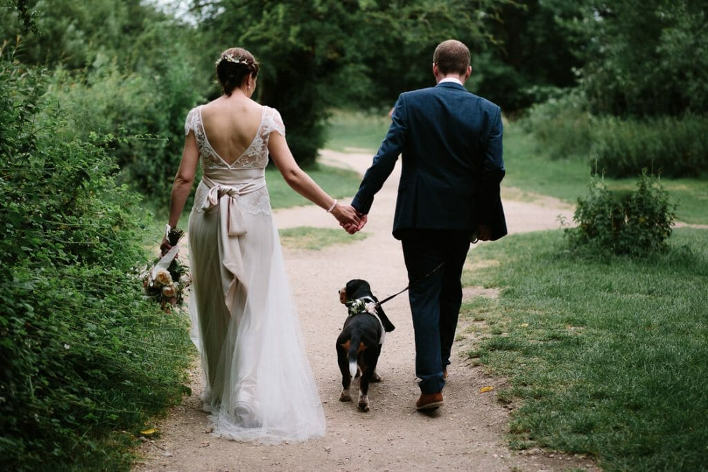 Wedding Portraits with dog at The Perch Oxford - by Philippa James Wedding Photographer