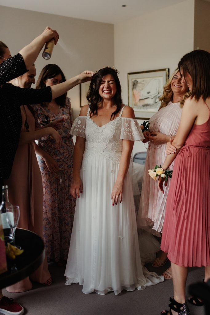 bride getting ready at Old Bank Hotel